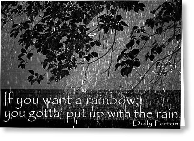 Rain Shower With Inspirational Text Greeting Card by Donald  Erickson