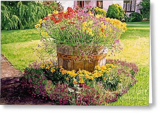 Rainbarrel Garden Greeting Card by David Lloyd Glover