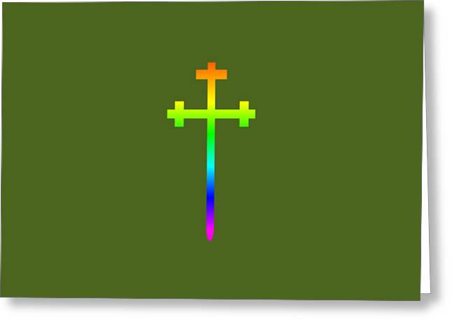 Rainbow Aaronic Order Symbol Greeting Card by Frederick Holiday