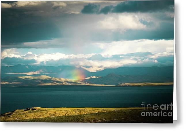 Rainbow Above Lake Manasarovar Kailash Yantra.lv Greeting Card
