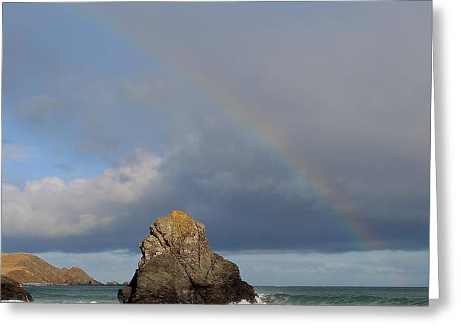 Rainbow Above Sango Bay Sea Stack Greeting Card