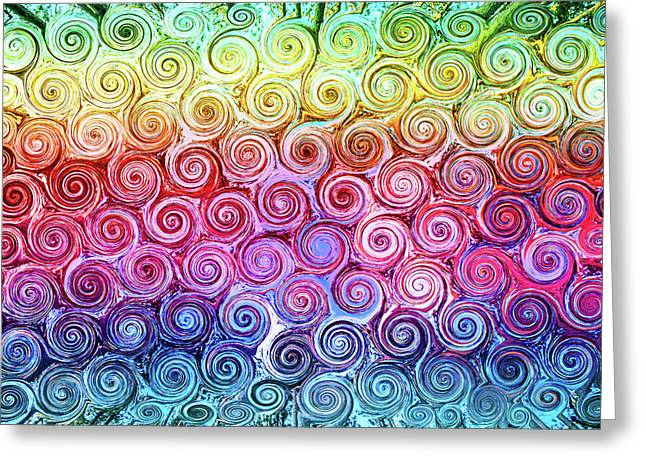 Rainbow Abstract Swirls Greeting Card
