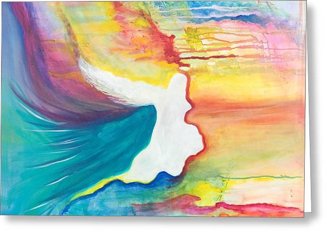 Rainbow Angel Greeting Card by Leti C Stiles