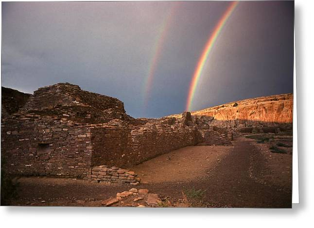 Rainbow At Chetro Kettle Greeting Card by John Foote