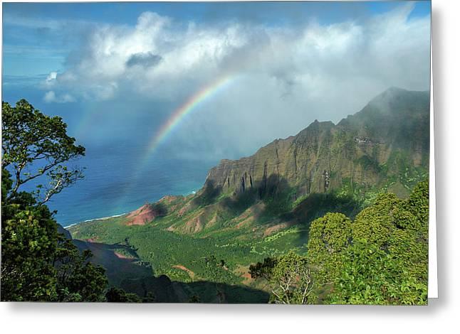 Rainbow At Kalalau Valley Greeting Card by James Eddy