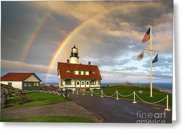 Rainbow At Portland Head Light Greeting Card by Benjamin Williamson