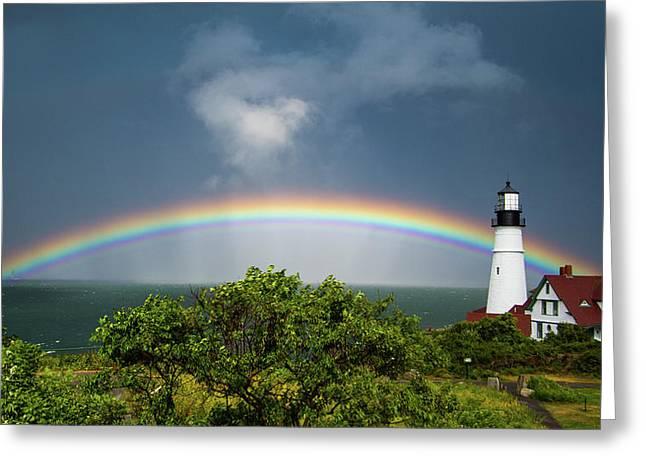 Rainbow At Portland Headlight Greeting Card
