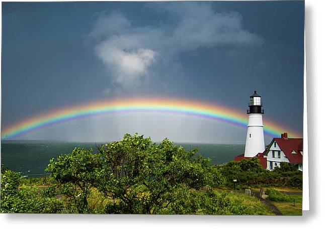 Greeting Card featuring the photograph Rainbow At Portland Headlight by Darryl Hendricks