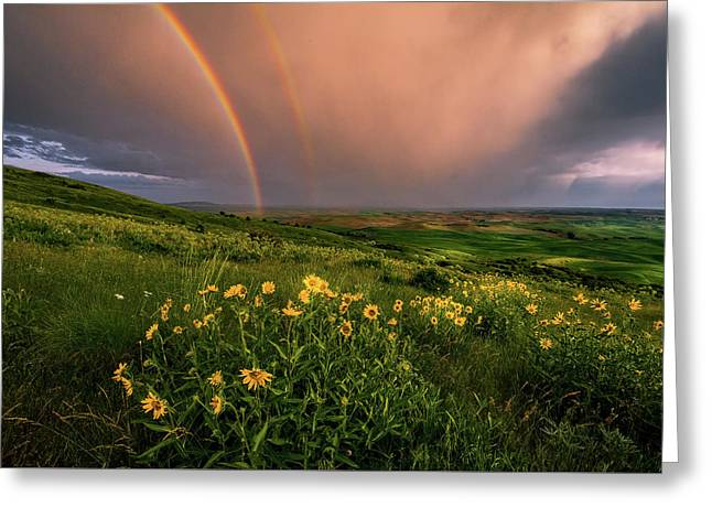Rainbow At Steptoe Butte Greeting Card