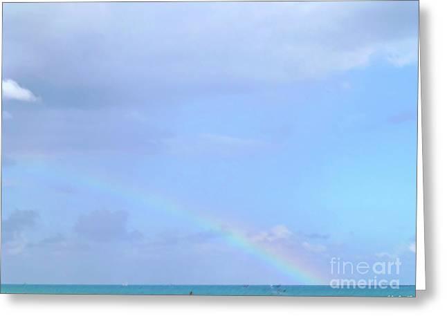 Greeting Card featuring the digital art Rainbow At The Beach 1 by Francesca Mackenney
