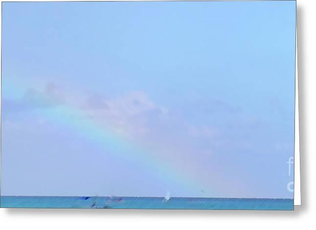 Greeting Card featuring the digital art Rainbow At The Beach 2 by Francesca Mackenney