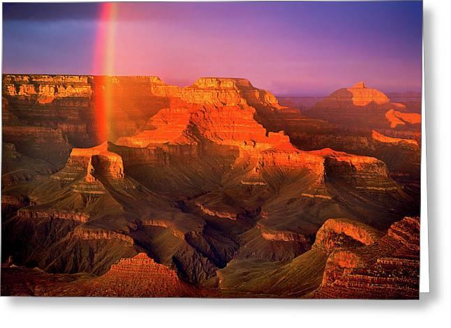 Rainbow At The Grand Canyon Greeting Card