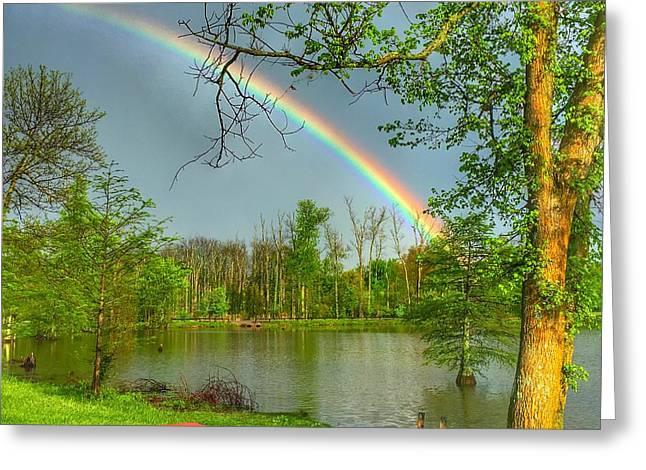 Rainbow At The Lake Greeting Card