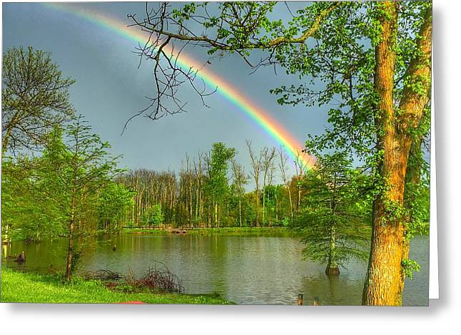Rainbow At The Lake Greeting Card by Sumoflam Photography