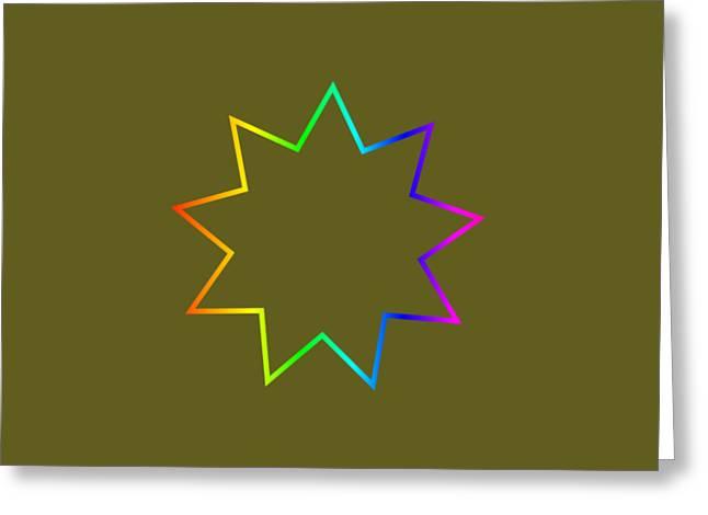 Rainbow Bahai Symbol Greeting Card by Frederick Holiday