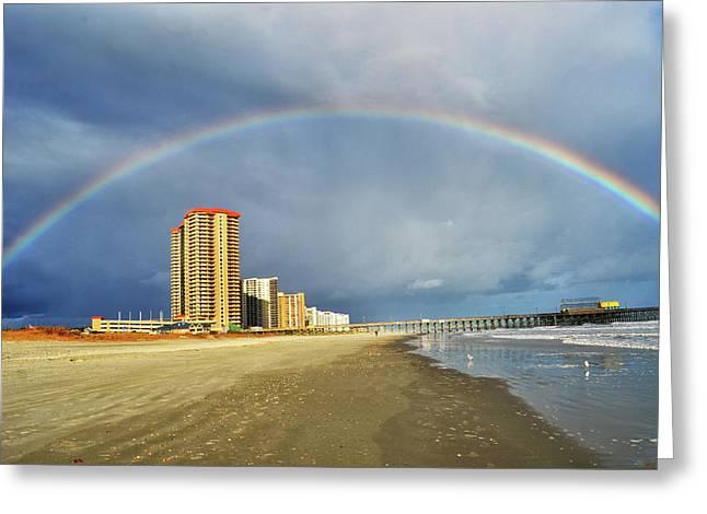 Rainbow Beach Greeting Card by Kelly Reber