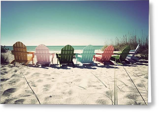 Rainbow Beach-vintage Greeting Card by Chris Andruskiewicz