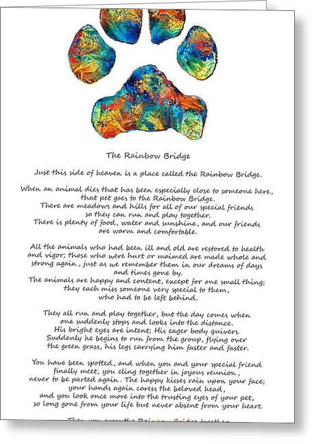 Rainbow Bridge Poem With Colorful Paw Print By Sharon Cummings Greeting Card