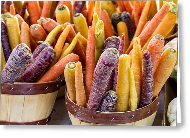 Rainbow Carrots At The Market Greeting Card