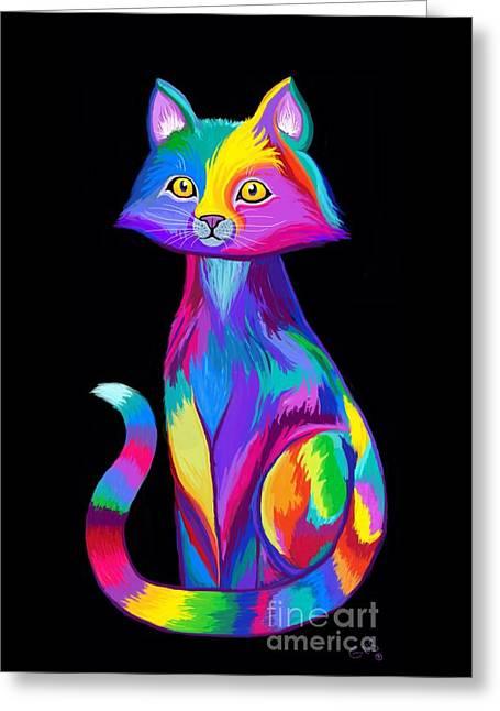 Rainbow Cat Greeting Card by Nick Gustafson