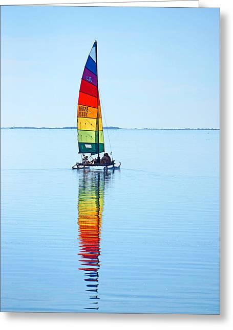 Rainbow Catamaran Greeting Card