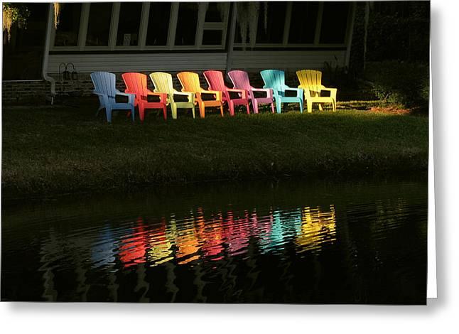 Rainbow Chairs  Greeting Card