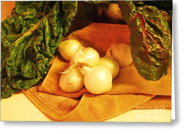Rainbow Chard And Pearl Onions Greeting Card by Jamey Balester