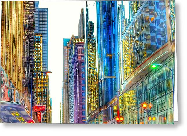 Greeting Card featuring the photograph Rainbow Cityscape by Marianne Dow