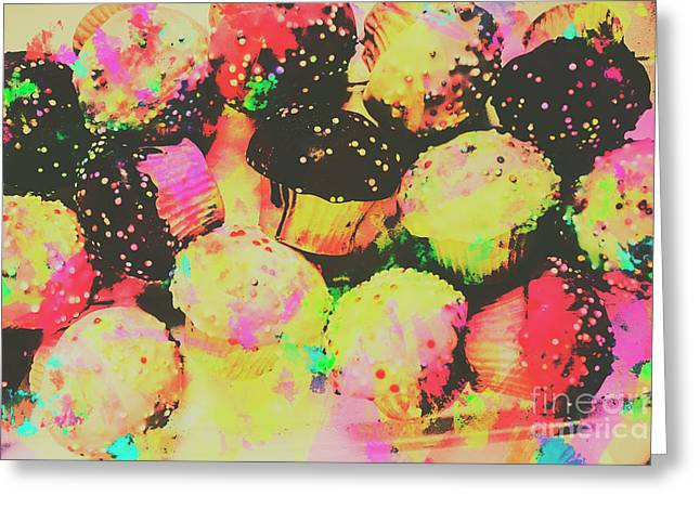 Rainbow Color Cupcakes Greeting Card