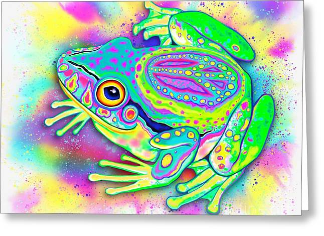 Rainbow Color Peace Frog Greeting Card by Nick Gustafson
