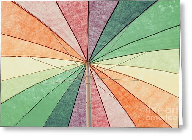 Rainbow Colored Umbrella Abstract Background Greeting Card