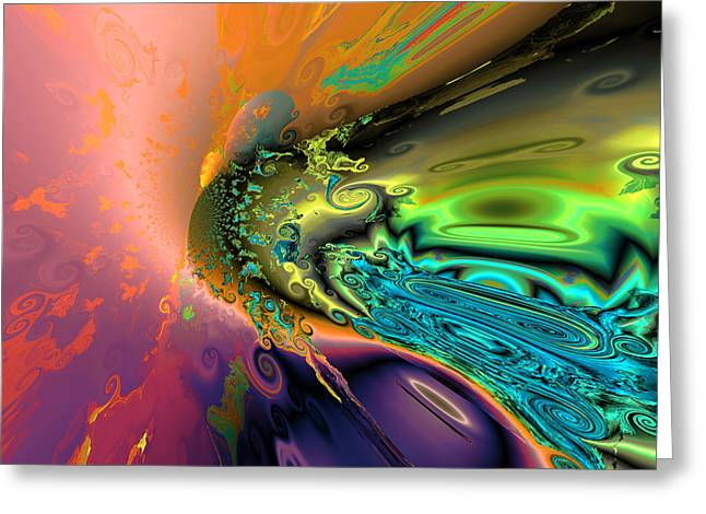 Algorithmic Abstract Greeting Cards - Rainbow comet Greeting Card by Claude McCoy