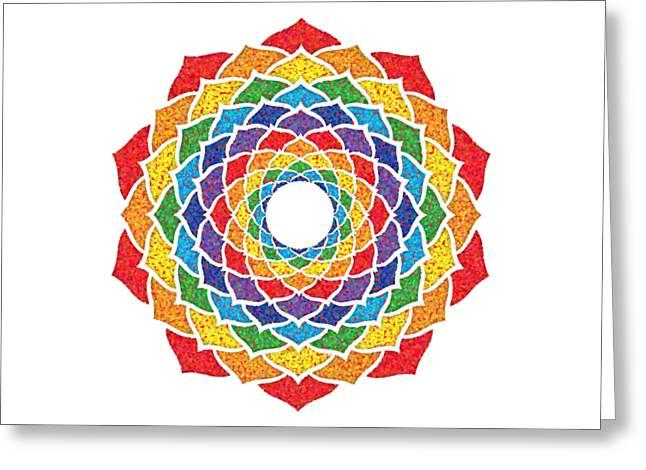 Rainbow - Crown Chakra - Pointillism Greeting Card by David Weingaertner