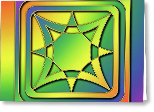 Greeting Card featuring the digital art Rainbow Design 6 by Chuck Staley