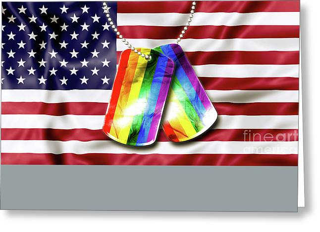 Rainbow Dog Tags Greeting Card