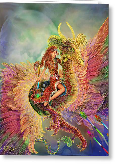 Steve Roberts Greeting Cards - Rainbow Dragon Greeting Card by Steve Roberts
