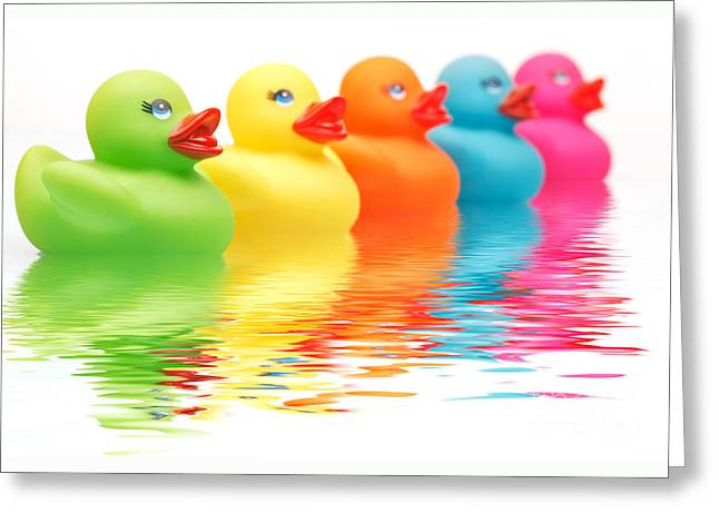 Rainbow Ducks Greeting Card by Martin Williams