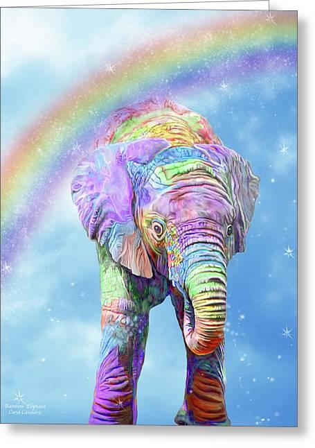 Greeting Card featuring the mixed media Rainbow Elephant by Carol Cavalaris