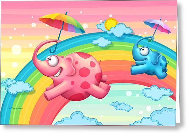 Rainbow Elephants Greeting Card by Tooshtoosh