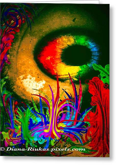 Rainbow Eyeball In Forest Greeting Card by Diana Riukas