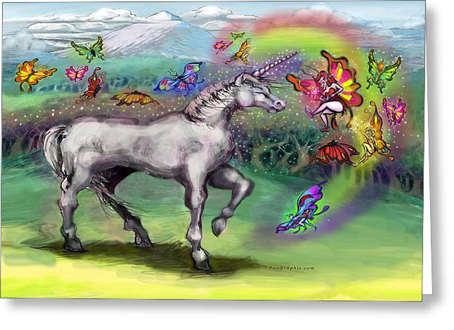Rainbow Faeries And Unicorn Greeting Card by Kevin Middleton