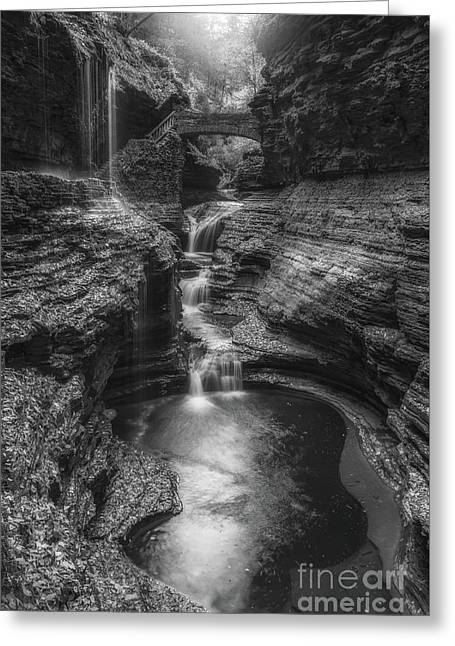 Rainbow Falls Black And White Greeting Card by Michael Ver Sprill