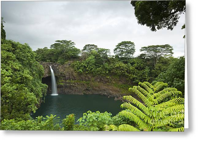 Greeting Card featuring the photograph Rainbow Falls - Hawaii Island by Charmian Vistaunet