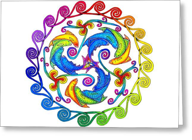 Rainbow Fish Spiral Greeting Card by Rebecca Wang
