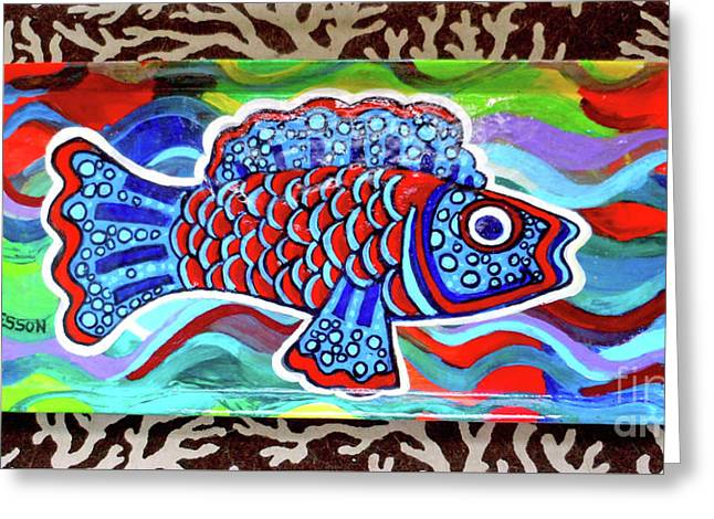 Rainbow Fish Tray Framed By Coral Reef Greeting Card