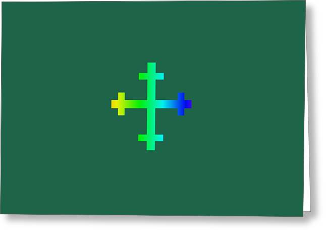 Rainbow Flory Heraldry Cross Greeting Card by Frederick Holiday