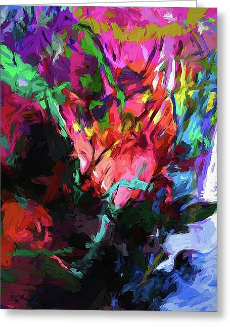 Rainbow Flower Rhapsody Red Turquoise Blue Greeting Card