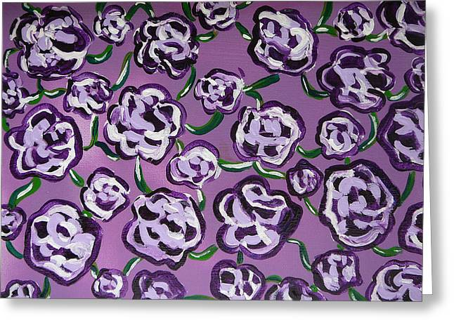 Greeting Card featuring the painting Rainbow Flowers Violet by Gioia Albano
