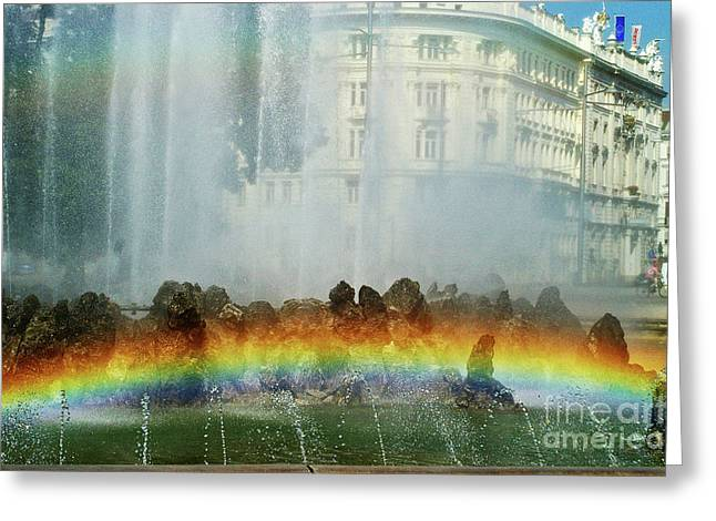 Greeting Card featuring the photograph Rainbow Fountain In Vienna by Mariola Bitner