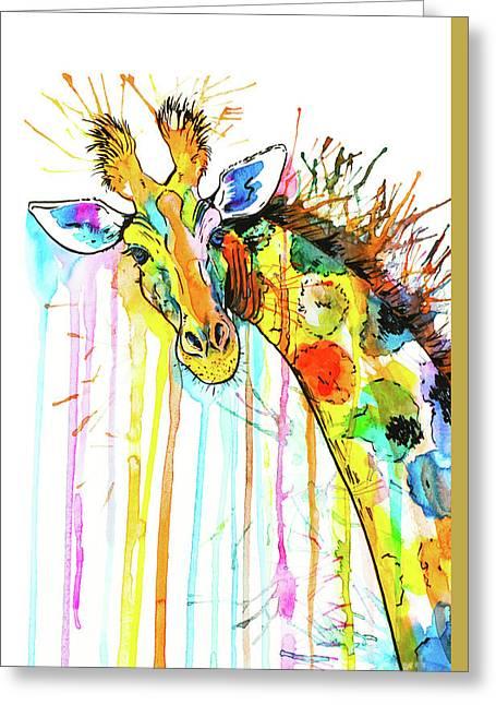 Greeting Card featuring the painting Rainbow Giraffe by Zaira Dzhaubaeva